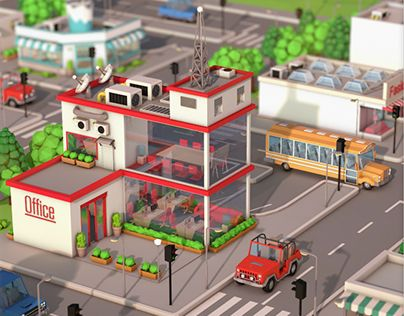 """Check out my Low Poly City Pack @Behance portfolio: """"Low Poly City Pack"""" http://be.net/gallery/33987824/Low-Poly-City-Pack"""