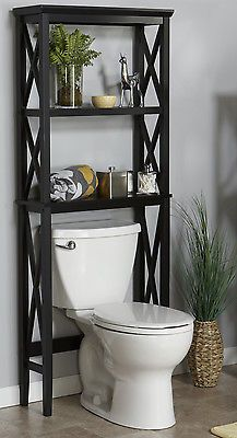 over toilet shelf bathroom tower storage organizer rack space saver modern wood - Bathroom Cabinets That Fit Over The Toilet