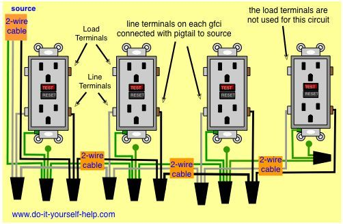 wiring diagram multiple ground fault circuit interrupters