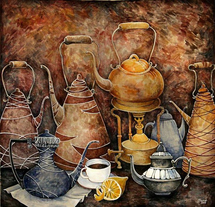 Каминская Мария. Натюрморт с чайниками