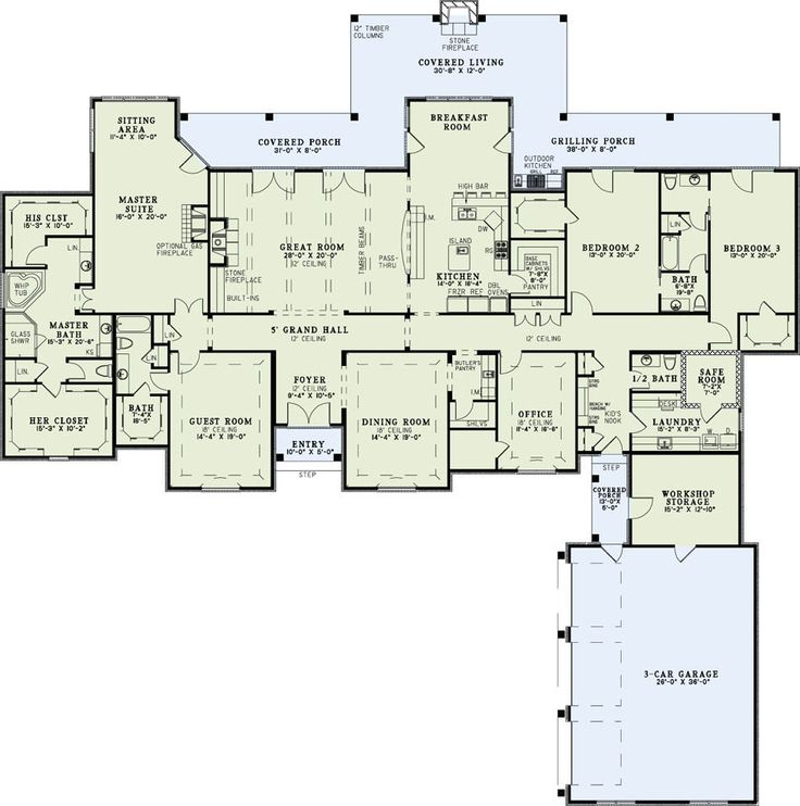 All on one floor! Personal changes: turn the jack & jill bathroom into two bathrooms or just have the door open to the hall, and I would probably never use a formal dining room so that could be an office/library