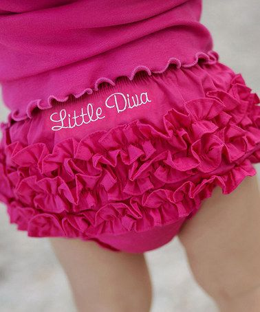 Take a look at this Fuchsia 'Little Diva' Ruffle Diaper Cover - Infant & Toddler by RuffleButts on #zulily today!