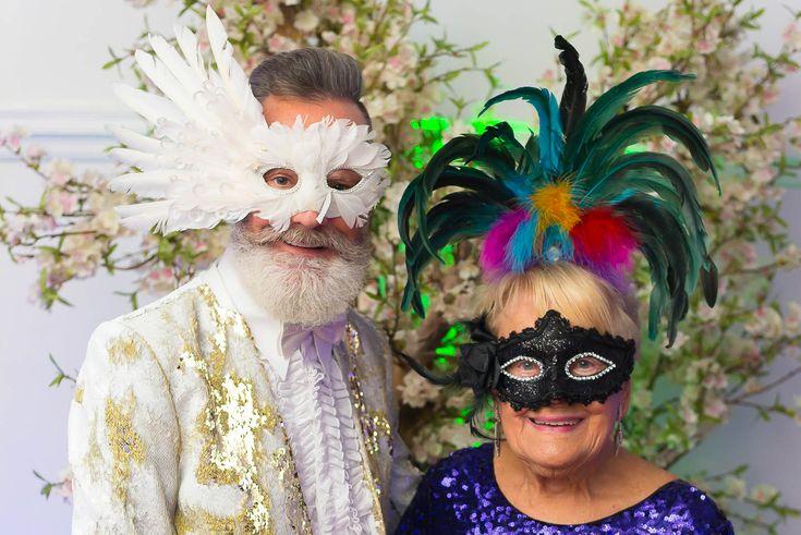 Masquerade Ball, Hitchin Town Hall. Lady & gentleman in elaborate masks