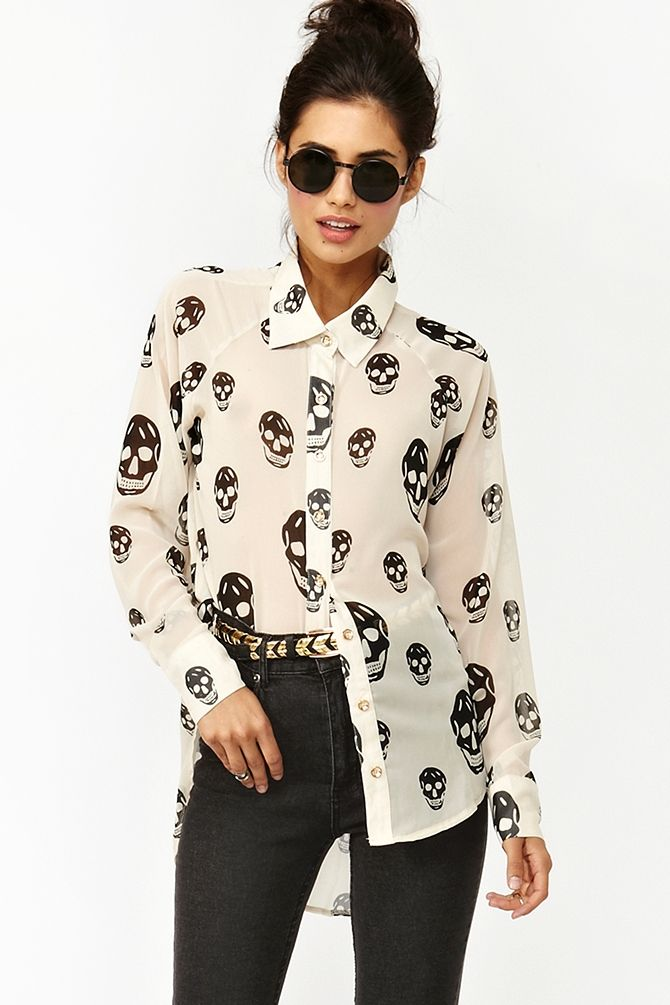 Skull Chiffon Blouse - Ivory: Skull Blouses, Chiffon Blouses, Skull Chiffon, Skull Shirts, Skull Prints, Ivory, Closet, Nasty Gal, Spring Outfits