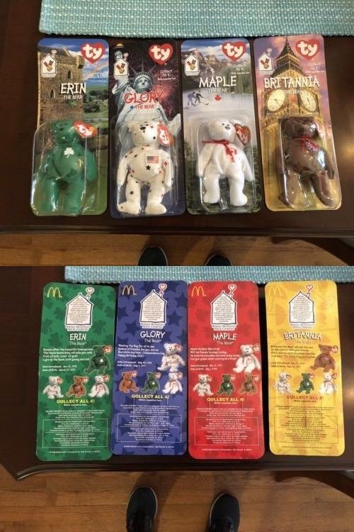 4e49448137e Teenie Beanies 441  1999 Mcdonald S Teenie Beanie Babies International Bears  Set Of All 4 -  BUY IT NOW ONLY   10 on  eBay  teenie  beanies  mcdonald ...