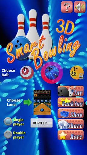 Really smart bowling game! Top 3D graphics, realistic physics and double player option! Nice lane themes and many ball colors. The ball motion, rotation and controlling is amazing. If you love bowling, you would love this addictive game. Put your name in world ranking! How To Play smart bowling:  1. Drag the ball to left or right to position it.  2. Put finger on the ball and flip to the pins to throw. 3. Gesture curve on the screen to rotate the ball.  The speed and angle of ...