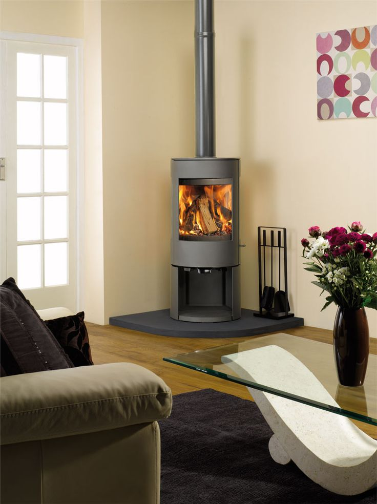 fireplace with windows on either side | Astroline 3CB Astroline Contemporary Wood Stoves