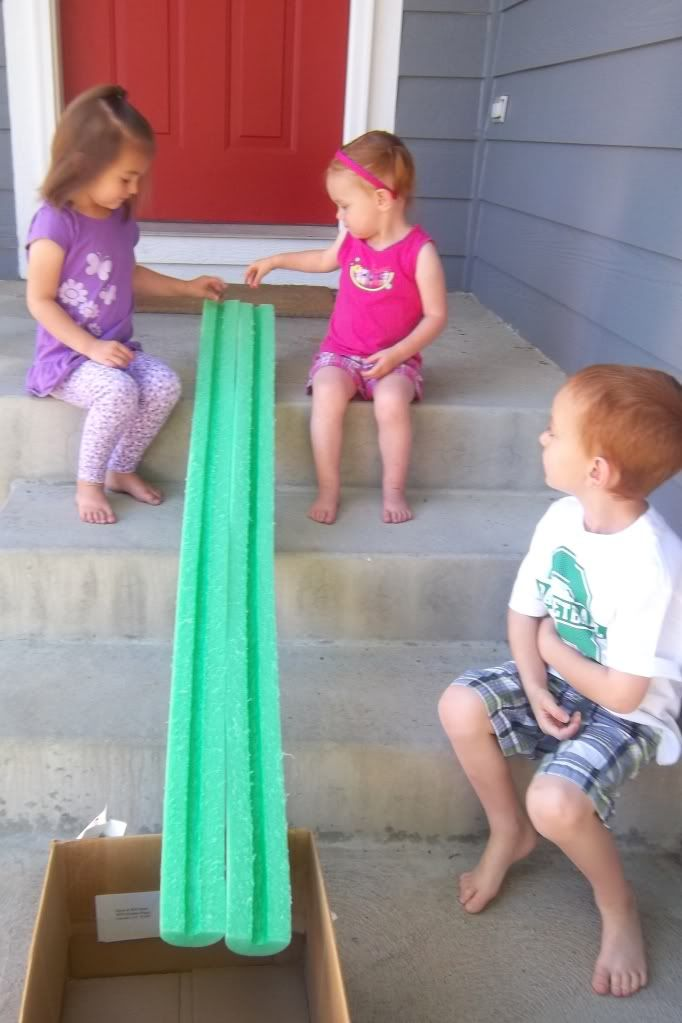 Noodle racing: Cut a pool noodle in half, and then race Whoppers in each track.