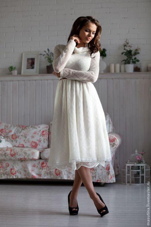 """Платье """" Снежок"""" - Шикарное ажурное платьице молочного цвета из элитного итальянского мохера с юбочкой- подкладом из хлопка с шитьем :-)"""
