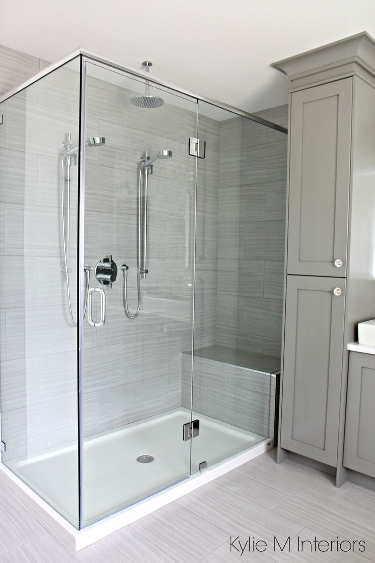 Walk-in-shower-with-2-shower-heads-fibreglass-base-and-porcelain-surround.-Vanity-tower-painted-Benjamin-Moore-Chelsea-Gray.-Design-by-Kylie-M-Interiors-E-Design.jpg 2,212×3,318 pixels