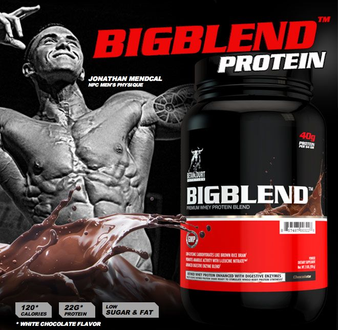 BETANCOURT NUTRITION bigBlend PROTEIN is here - delicious chocolate flavour in stock. This is a blend of a wide range of different protein sources to make it an IDEAL ANY TIME OF THE DAY PROTEIN. It has FAST, MEDIUM and SLOW release proteins and is LOADED with BCAA and Digestive Enzymes to help with its digestion and absorption. FREE PROTEIN SHAKER WITH EVERY PURCHASE THIS SATURDAY!!!