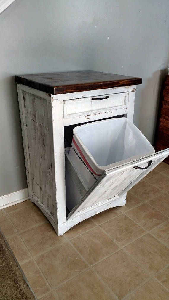 Tilt Out Trash Bin Rustic White Can Cabinet Wood 13 Gallon Holder Kitchen Home