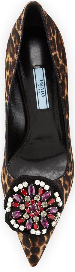 Prada Leopard-Print Calf-Hair Ornament Pump  ❤*~✿Ophashionista✿*~❤