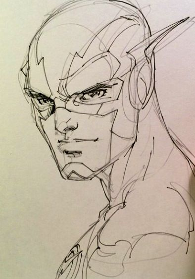 -Sketch of The Flash by Jim Lee- I like this drawing of flash because it shows clarly who the drawing ment to be but still hasnt got a lot of detail.