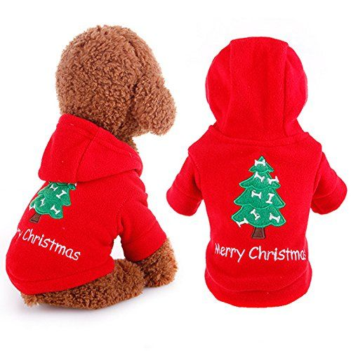 From 7.99 Santa Pet Cat Dog Costume Merry Christmas Tree Pattern Clothes Cotton Hoodie For Cat Dog Size Xs S M L Xl (xs)