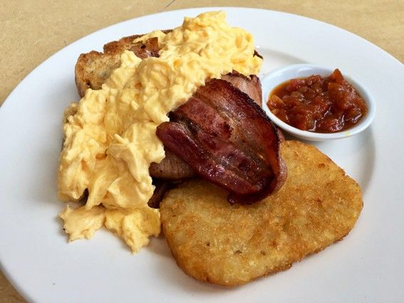 Scrambled Eggs on Sourdough ($10), Burrawang Bacon ($4.90), Hash Brown ($2.20) and Tomato Chilli Jam ($2.20) - Hyams Beach Store & Cafe - Does My Bomb Look Big In This?