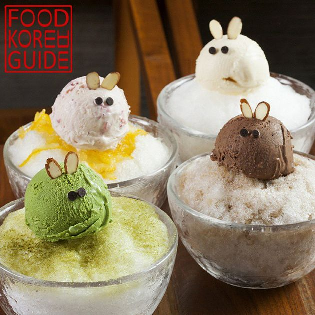 Sojukdoo Bingsu in Gangnam, Seoul. Flavors pictured are yuzu, vanilla, green tea, and coffee.