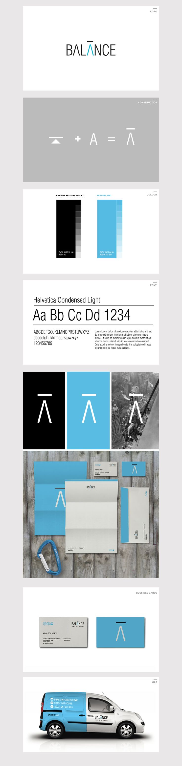 Visual identity for Balance - company operating in the field of work at height.