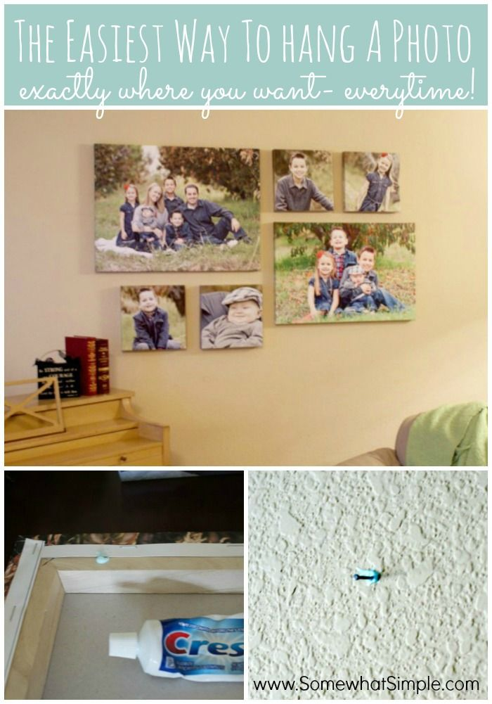 How to Hang a Photo Collage- use toothpaste! (Yep!) by somewhatsimple #Hang_Photos