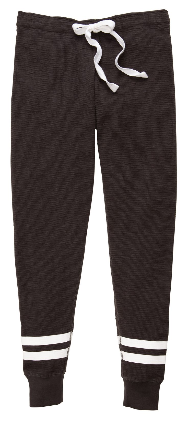 Take your style to a another level with this new Women's thermal jogger pant! Featuring cotton thermal slub fabric with contrasting drawstring with an elastic waistband, and athletic printed stripes a
