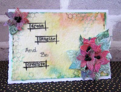 Wet wipe flower card by Gemma Hynes #artisticstamper #mixedmedia #cards #create #flowers
