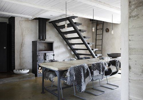 Vosgesparis: A Punkrock interior with a decadent attitude: Design Inspiration, Scandinavian Design, Open Stairs, Dreams Apartment, Concrete Tables, Fur, Concrete Floors, Scandinavian Interiors Design, Wood Stove