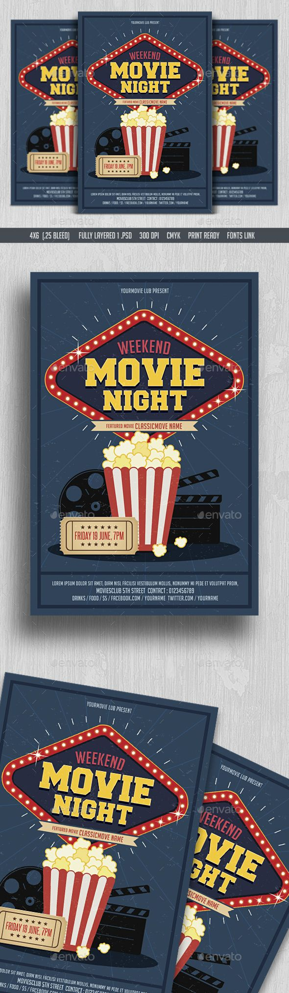 Movie Night Flyer Template PSD. Download here: https://graphicriver.net/item/movie-night-flyer/16991857?ref=ksioks