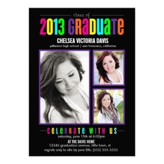 18 best graduation invitation templates images on pinterest grad colorful class of 2013 graduate photo invite filmwisefo
