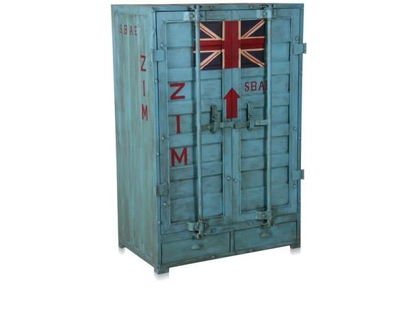 Container closet schrank in containerlook 2 schubladen for Schrank indisch