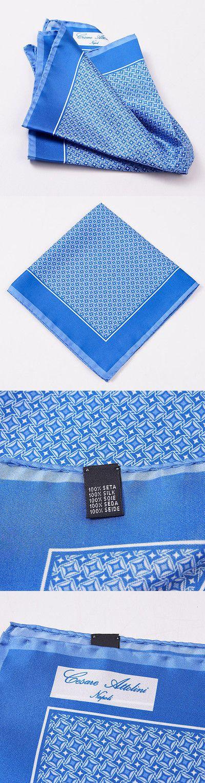 Handkerchiefs 167902: New Cesare Attolini Napoli Medium Blue Star-Diamond Print Silk Pocket Square -> BUY IT NOW ONLY: $63.75 on eBay!