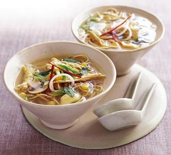 Soupe chinoise au poulet/ 225 g de poulet cuit, 1 cc d'huile; 6 petits oignons nouveaux;1 piment rouge; 1 gousse d'ail, 1 petit morceau de 2,5 cm environ de gingembre, 1L de bouillon de volaille,150 g de nouilles aux oeuf, 1 carotte; 125 g de germes de soja,2 CS de sauce de soja, 1 CS de sauce de poisson « nuoc-mâm », Quelques feuilles de coriandre fraîche, pour décorer (voir le site pour la recette)