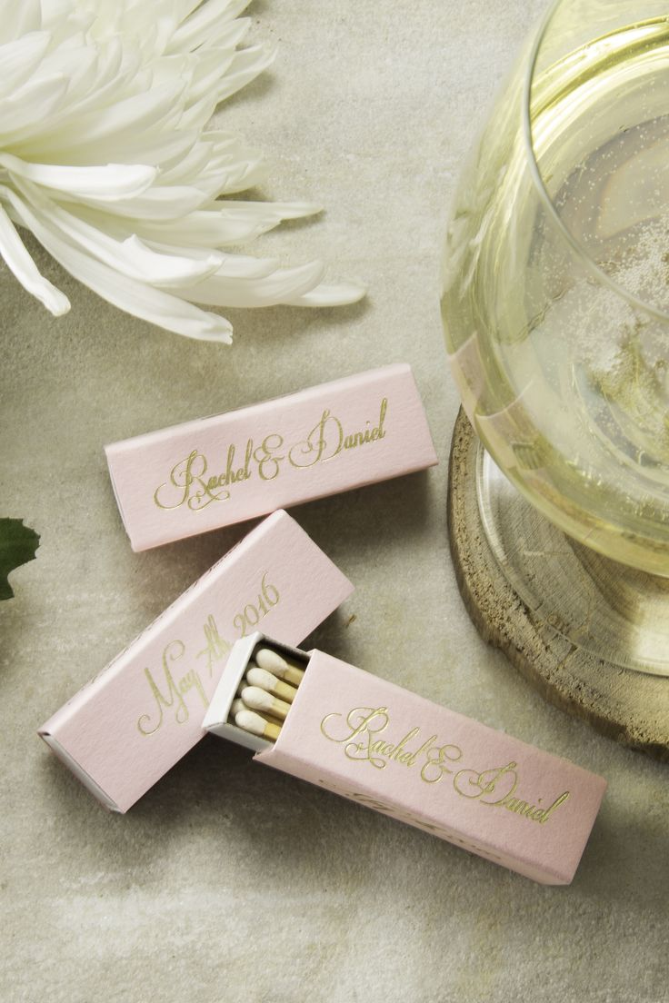 Custom printed lipstick match boxes are an elegant way to personalize your wedding day.