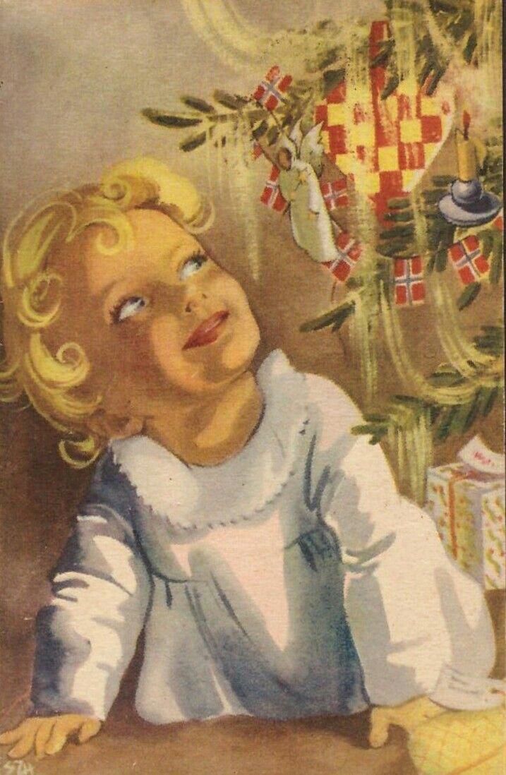 Julekort Ellen Marie Hernæs. Jente.Juletre m/no.flagg. No.Arbeide. Stemplet 44.