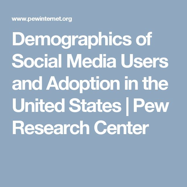 Demographics of Social Media Users and Adoption in the United States | Pew Research Center