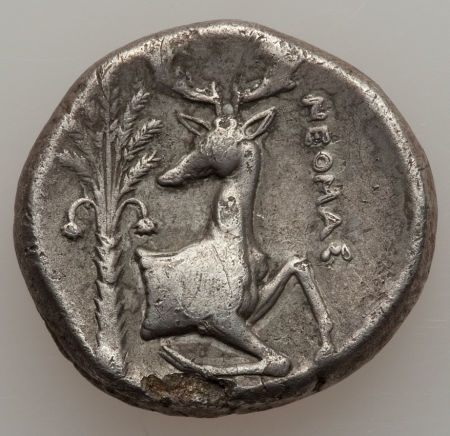 ca. 387-295 BCE coin showing the stag; the other side would show the bee, symbols of Artemis or her image Artemis of Ephesus - the great city in ancient Ionia, hellenized Turkey