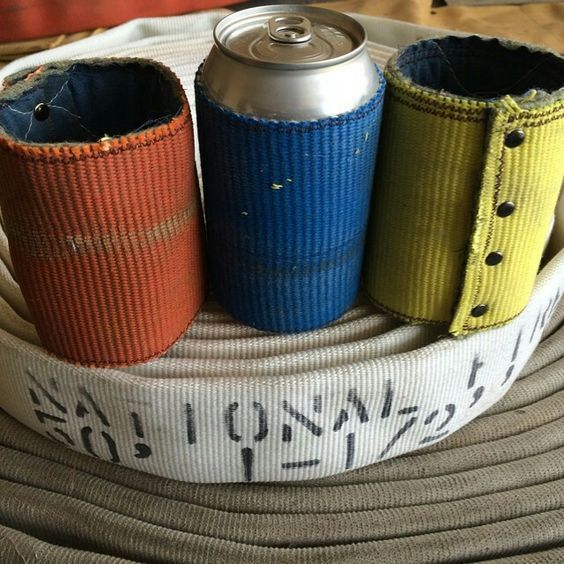 #DIY #Fire hose beer koozie made from decommissioned fire hose available in orange, blue and yellow. #firefighter #recyclereuse