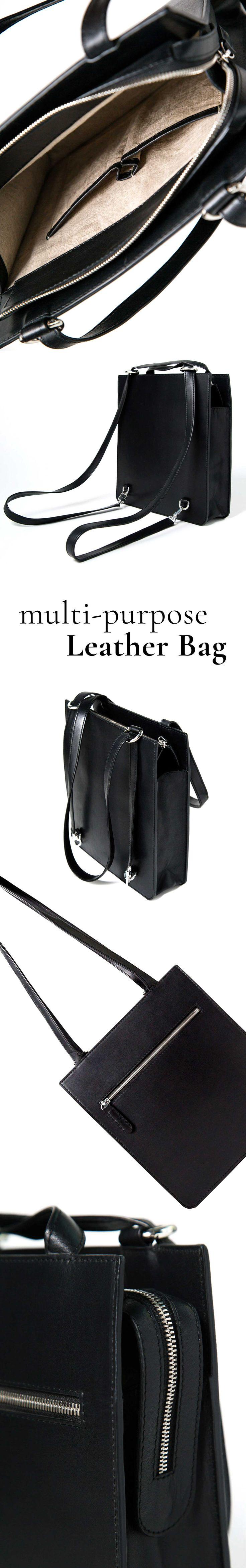 Very high quality, black, multi-purpose leather bag. #luxury #handbag #fashion
