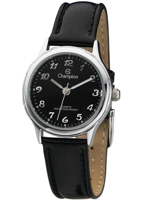 Relógio Champion Feminino Social Couro Preto CH25114T
