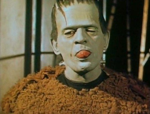 Boris Karloff goofing off during the production of Son of Frankenstein (1939)     The still is taken from a color 16mm Kodachrome home movie and shows that the monster's make-up was colored green.       Posted May 31, 2011 at 2:12 am193 notes