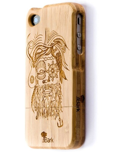 'Dead Sea Pirate' Laser Engraved Bamboo iPhone Case