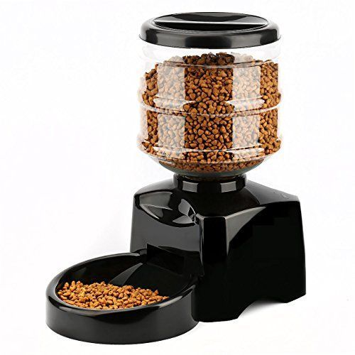 Automatic Pet Feeder, PETFLY Automatic Feeder Electric Pet Food Dispenser Dry Food Container with LCD Display for Pet Dogs Cats (Black) *** Check out the image by visiting the link. #CatFeedingandWaterFountainSupplies