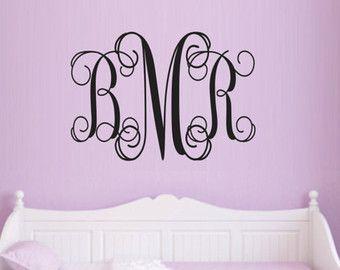 Personalizzati monogramma parete Decal - bambini Decalcomanie da muro - Nursery Wall Decal - nozze Monogram Decal - scritte in vinile
