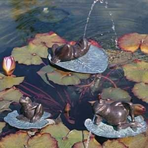 """Brass Baron Small Lazy Frog by Woodside Gardens. $155.00. Brass Fountains and Sculptures. 4"""" H x 8"""" L x 6.5"""" W. 4lbs"""