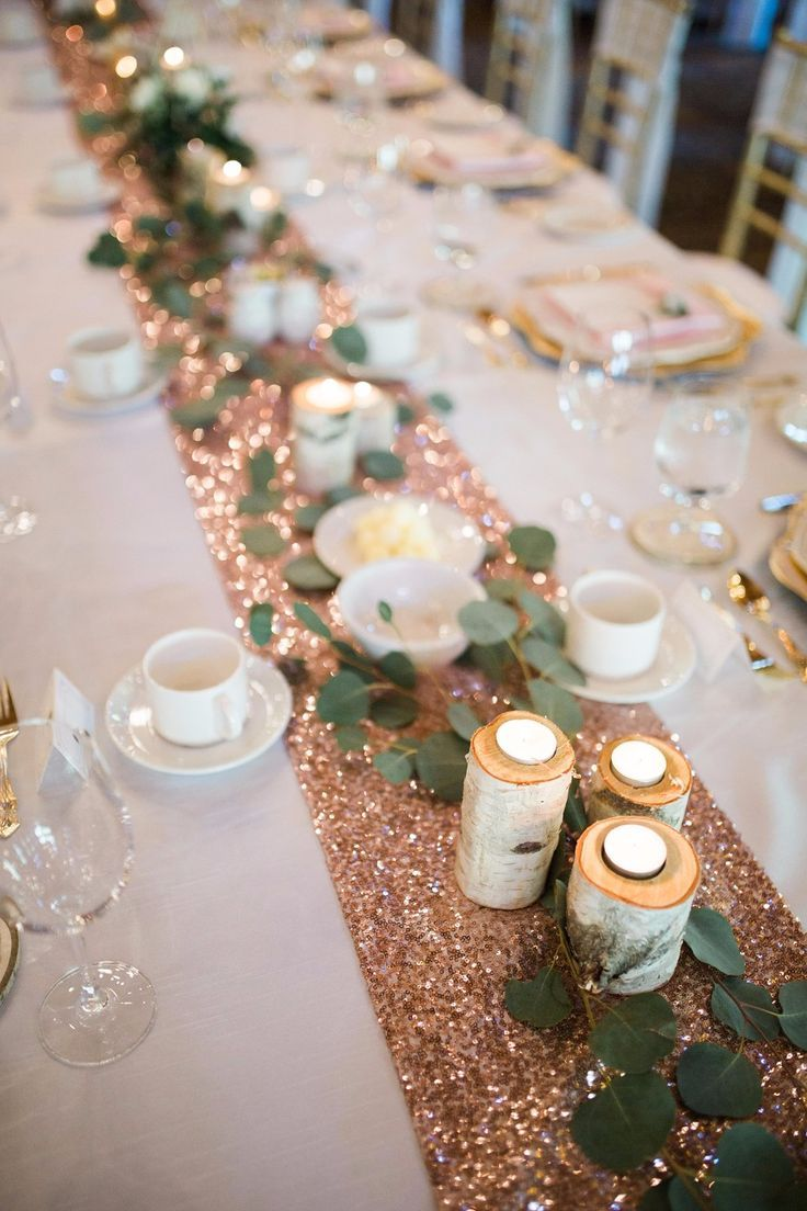 Sparkly Table Runner With Wood Candle Holders Mountain Wedding Decor Wedding Weekend Rose Gold Theme