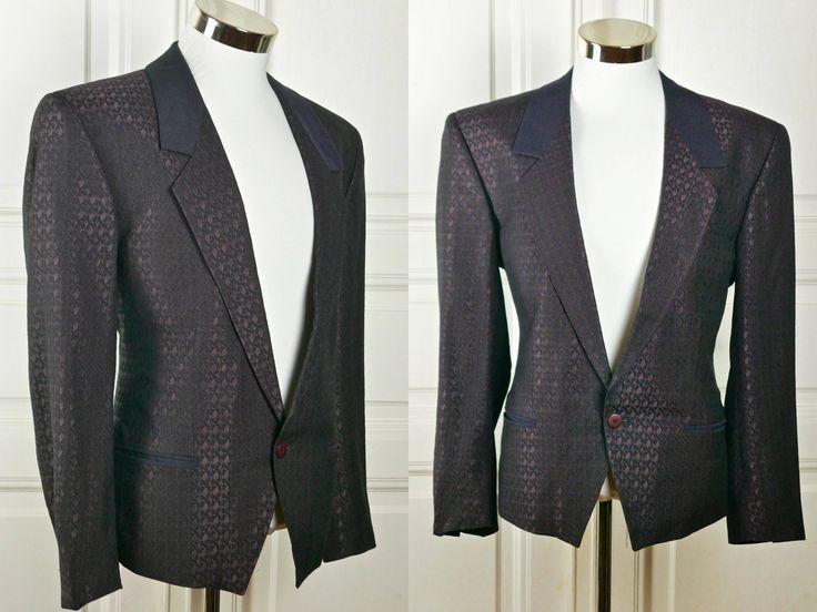Austrian Vintage Short Tuxedo Jacket, Purple Black Waverly Strands Pattern European Rat Pack Tux Jacket: Size 42 (US, UK) by YouLookAmazing on Etsy