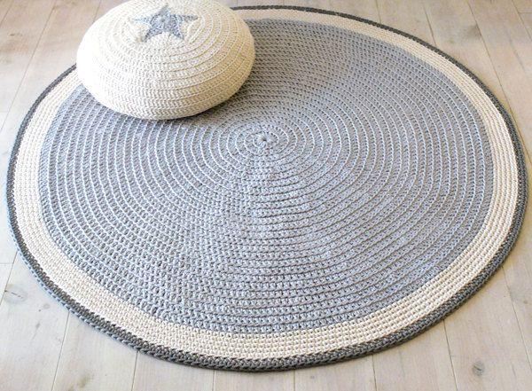 Round Rug floor crochet 100cm by lacasadecoto on Etsy
