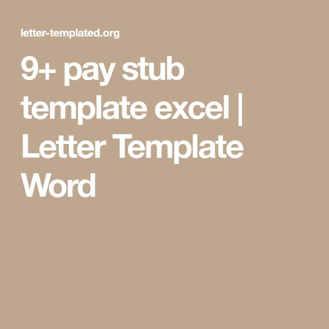 9+ pay stub template excel   Letter Template Word
