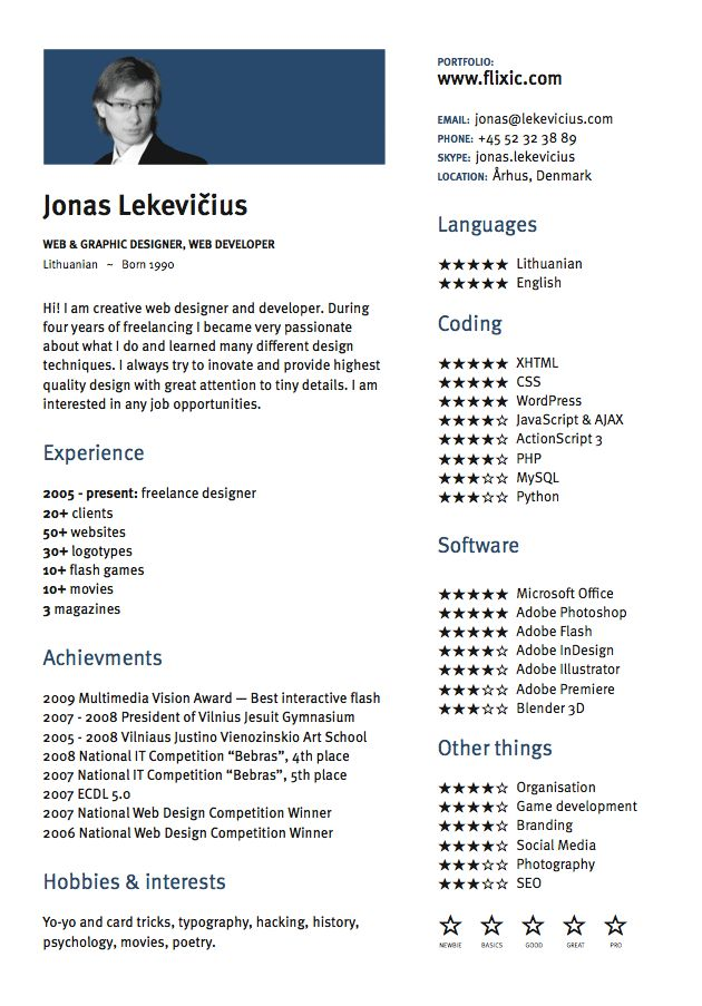 Jonas Lekevicius designer  cool skill rating system  design elements  Resume design Graphic