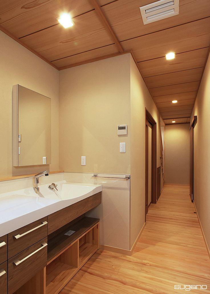 廊下の一角に洗面コーナーを設けました。※HP未掲載写真 #和風住宅 #家づくり #新築住宅 #木造住宅 #廊下 #洗面 #洗面コーナー #和風インテリア #インテリア #洗面台 #設計事務所 #菅野企画設計