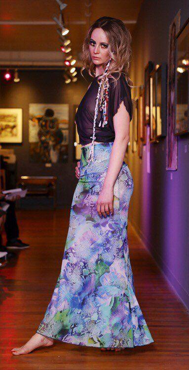 47a46dafcd Sheer mesh jersey tropical print skirt. Full length Mermaid Maxi Skirt